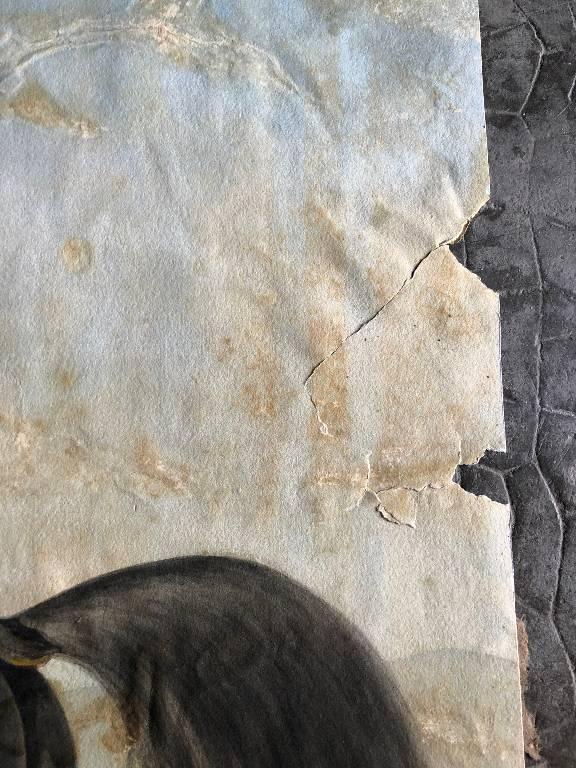 ANCIEN DESSIN GOUACHE OFFICIER SOUS L'EMPIRE 19ème 19th   Puces Privées