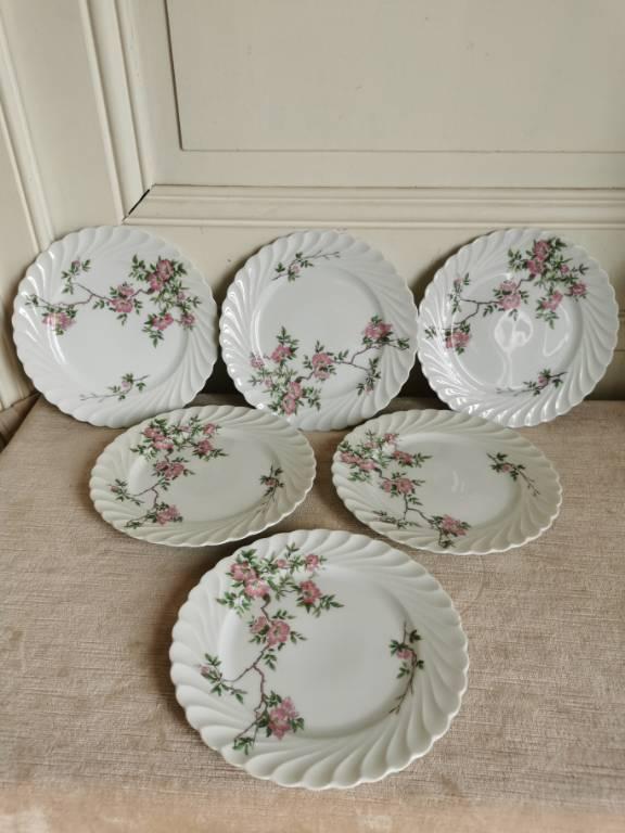 No - 467 - Six assiettes à desserts en porcelaine Haviland Limoges France   Puces Privées