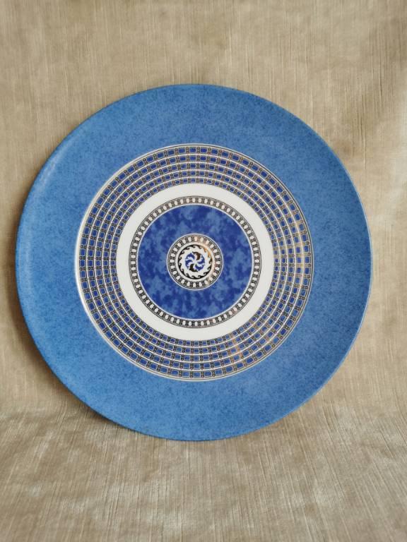 No - 473 - assiette - plat de Christofle porcelaine , modèle Océana Bleu Byxance diamètre 31,3 cm   Puces Privées