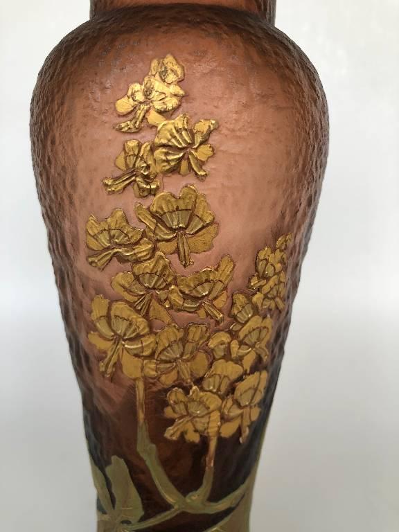 Montjoye Legras - Vase Marron Verre Givré Doré Art Nouveau   Puces Privées