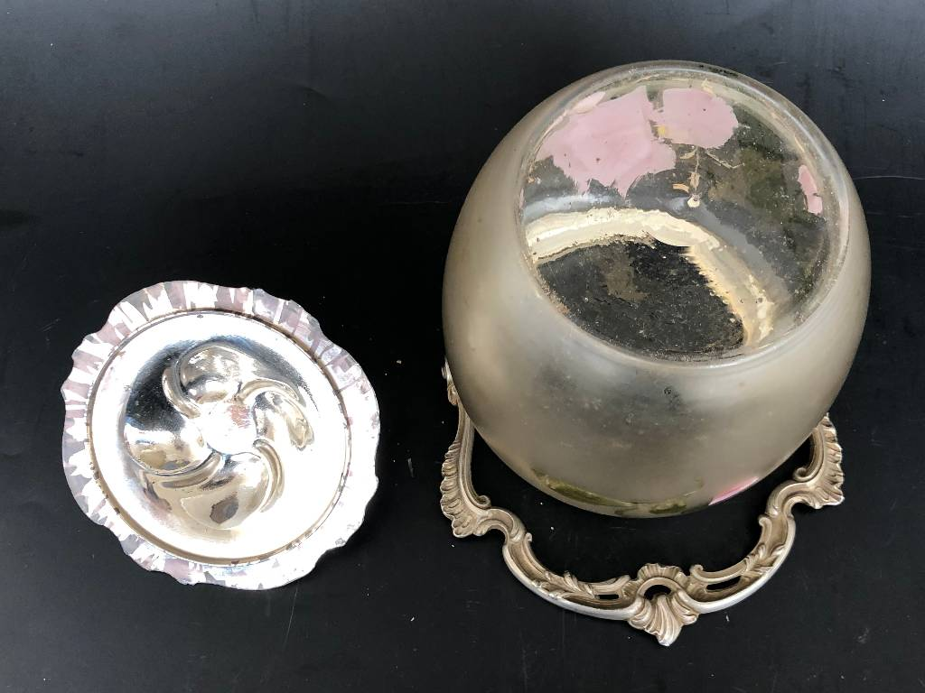 ANCIEN SEAU / POT A BISCUIT VERRE EMAILLÉ IRIS art nouveau | Puces Privées