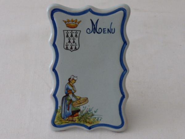 No - 30 - Deux porte menus bretons fin 19 ème., Céramiques, faïence anciennes, Arts décoratifs | Puces Privées