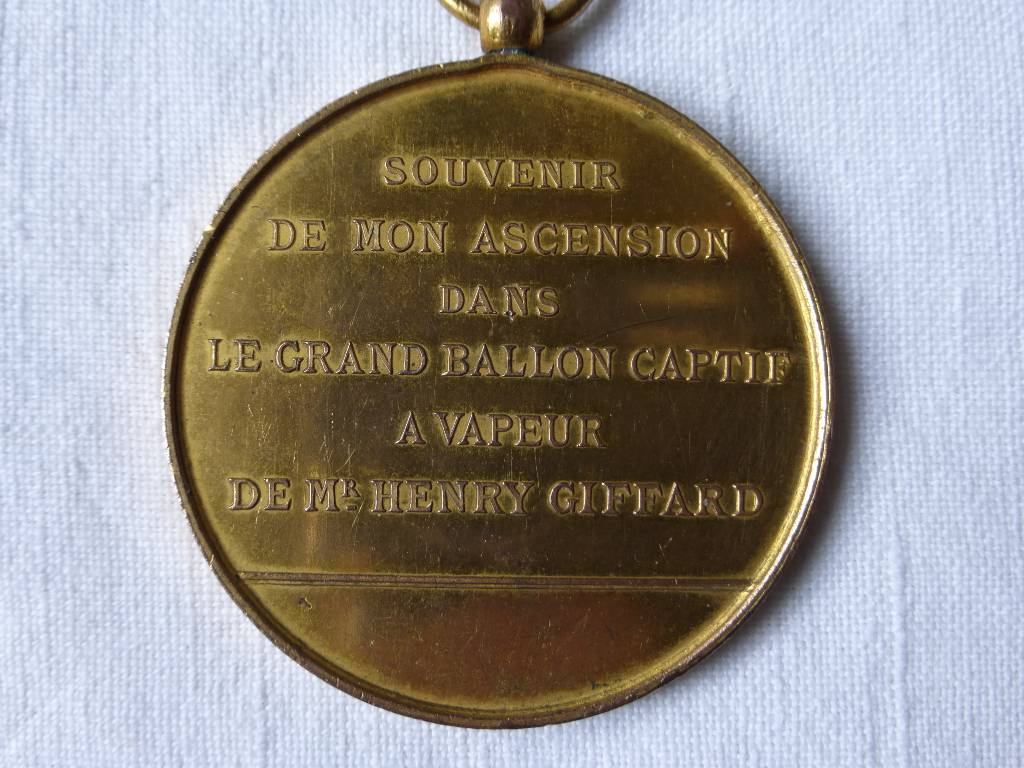 No - 78 -  Médaille souvenir de mon ascension dans le grand ballon captif à vapeur de Mr Henry Giffard .1878, Numismatique, Collections | Puces Privées