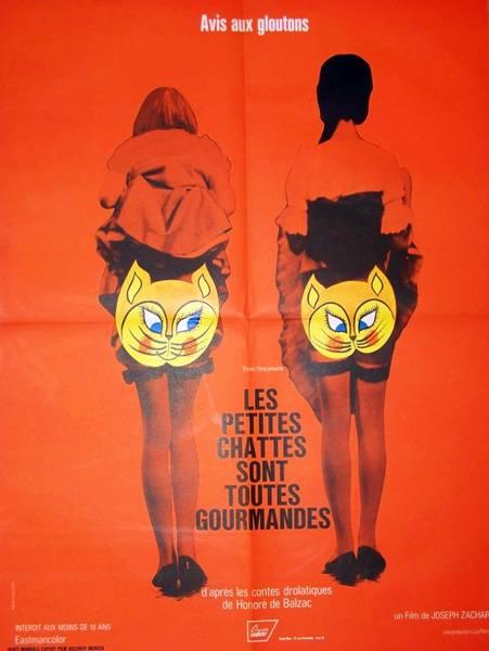 affiche cinéma Les petites chattes sont toutes gourmandes, Affiches anciennes (cinéma, theâtre, publicitaire), Image | Puces Privées