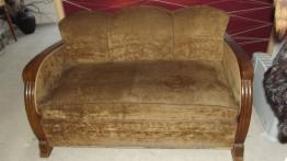 Canapé chesterfield cuir marron trois places | Puces Privées