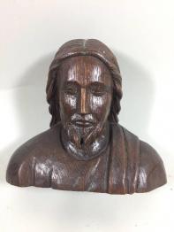 Visage de christ bois sculpté | Puces Privées
