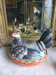 No - 430 - Bouteille et six gobelets en porcelaine de Couleuvre XX ème siècle . Edition d 'art | Puces Privées