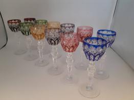 No - 342 -  Six verres à vin monogrammes  P  A et datés 1890   Puces Privées
