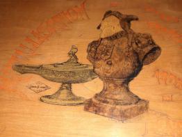 ancien grand bocal en verre soufflé vert et brun orangé XIX ème, Art populaire, Collections | Puces Privées