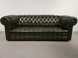 Canapé chesterfield cuir havane | Puces Privées