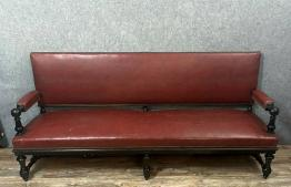 Canapé chesterfield cuir brique trois places | Puces Privées