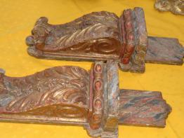 No - 422 - Panneau décoratif en chêne sculpté à décor de chérubins | Puces Privées