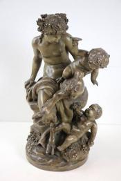 No - 337 -  Sculpture d'un groupe en terre cuite par Frank Girard sculpteur . | Puces Privées