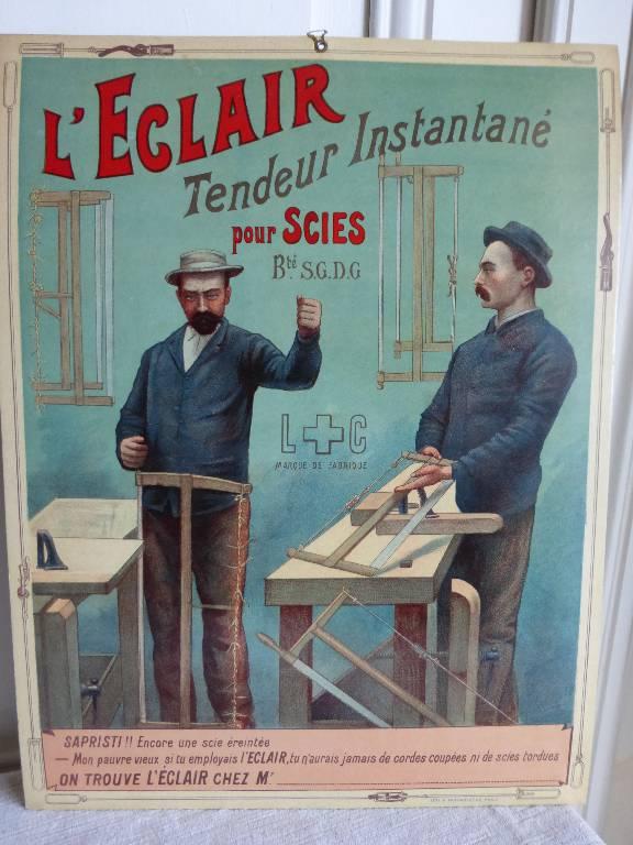 N o - 96 - Publicité  L''ECLAIR  tendeur instantané pour scies ., Dessin, affiche, Publicité | Puces Privées