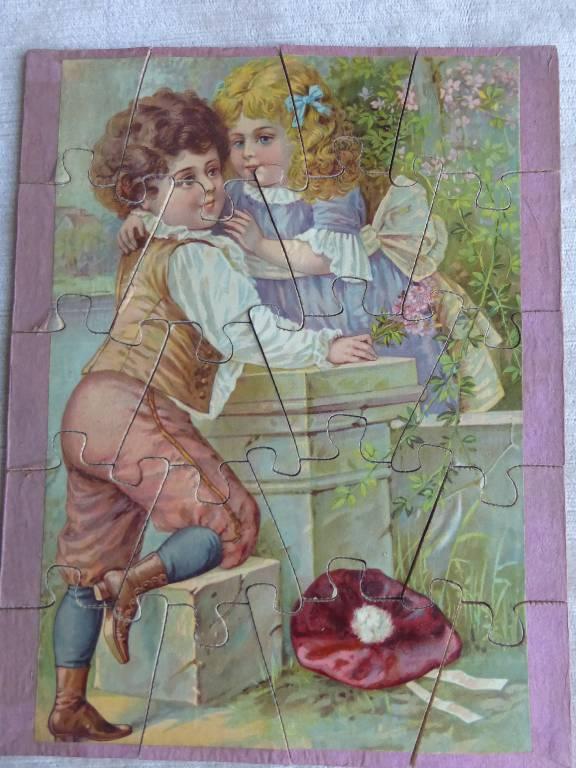 No - 104 -  Puzzle deux enfants , dis moi un secret ., Puzzle, Jeux anciens | Puces Privées