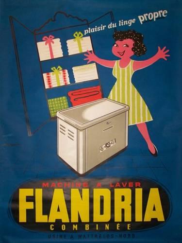 affiche publicitaire Machine à laver Flandria combinée, Affiches anciennes (cinéma, theâtre, publicitaire), Image | Puces Privées