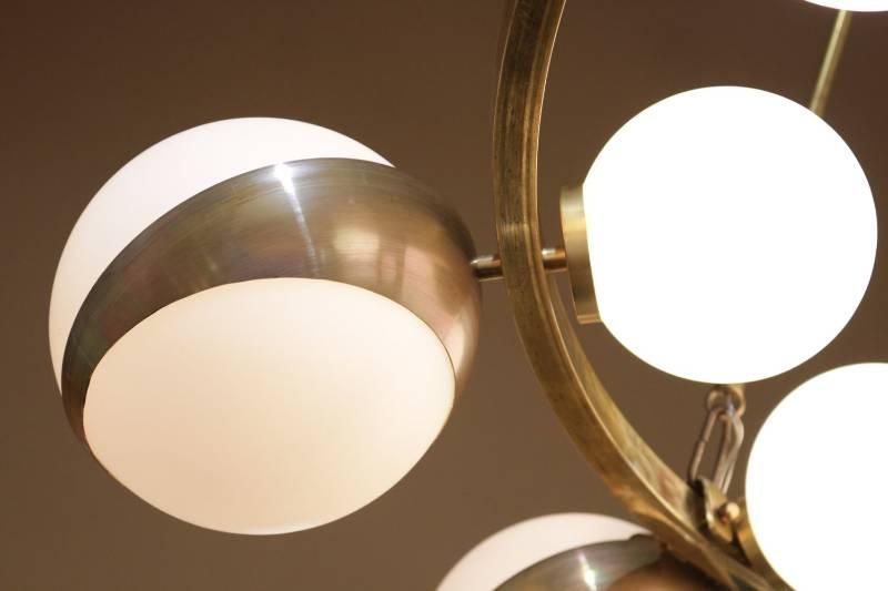 Grand Lustre rond Maison Stilnovo 1950, Lustres, Luminaires   Puces Privées
