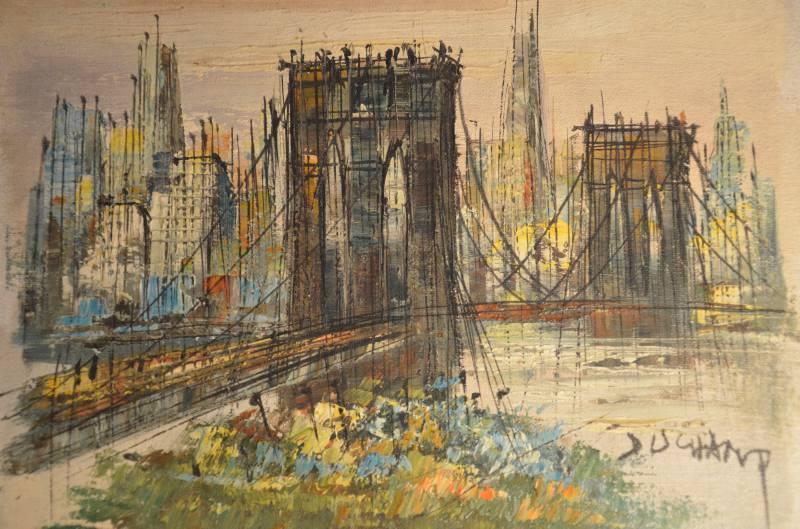 Le pont de Brooklyn par Suzanne Duchamp Huile sur toile années 50, XX, Peinture | Puces Privées