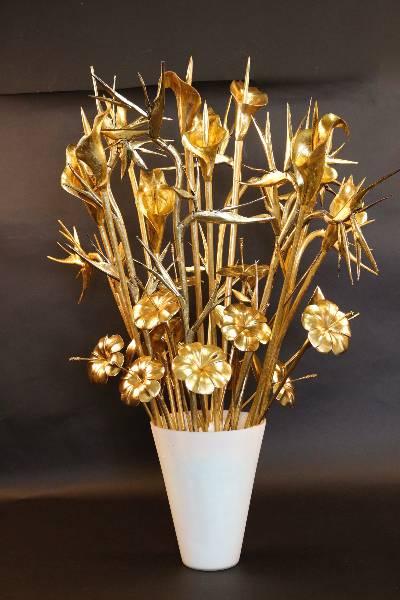 Fleurs en bois doré maison Trousselier 1968, Accessoires, Arts de la table | Puces Privées
