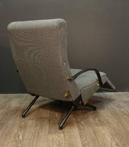 Fauteuil relax a système d'Osvaldo Borsani 1954 tissu pied-de-poule inversé, Fauteuils, Sièges | Puces Privées