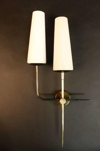 Paire d'appliques Maison Arlus 1950, Appliques, Luminaires | Puces Privées