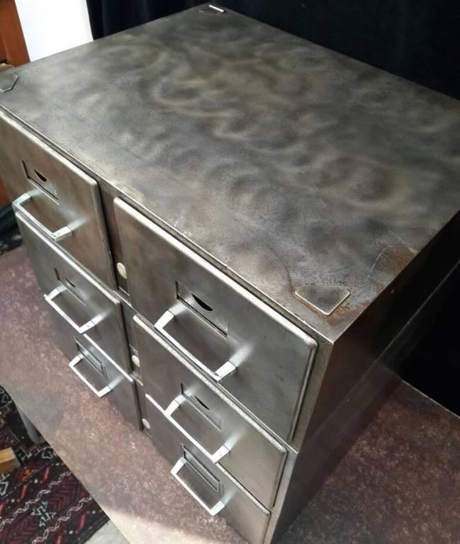 Caisson deux tiroirs métal brossé VALREX, Mobilier industriel, Mobilier | Puces Privées