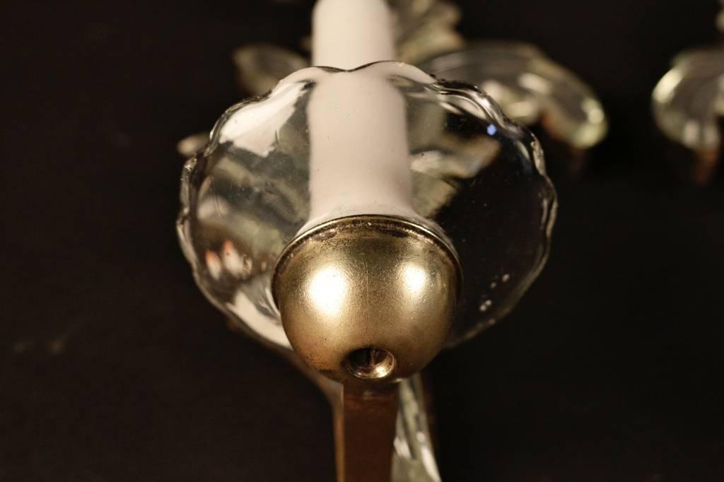 Paire d'appliques en verre églomisé