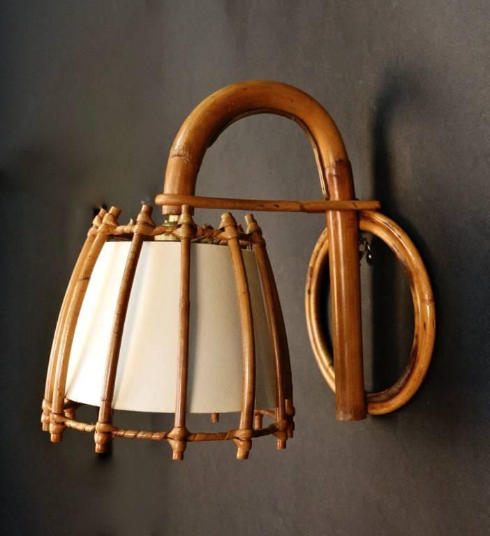 Paire d'appliques  attribuées à Louis Sognot en rotin1950, Appliques, Luminaires | Puces Privées