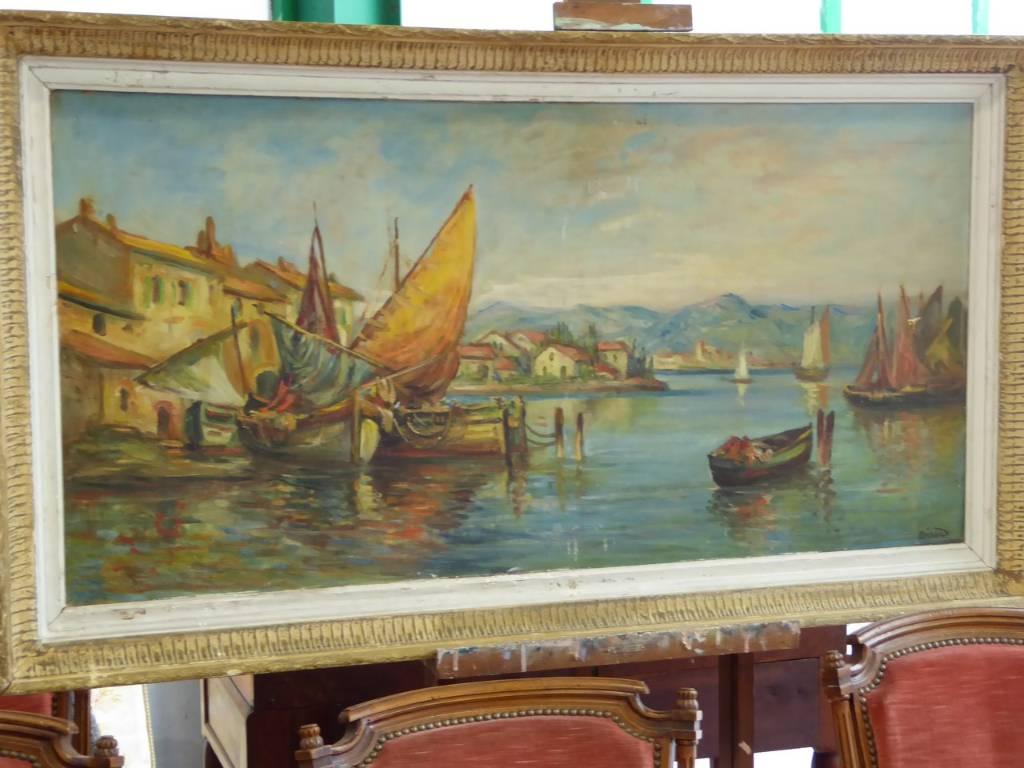 HST SIGNEE BERARD PAYSAGE MARINE BORD DE LA MEDITERRANNEE, Autres, Peinture | Puces Privées