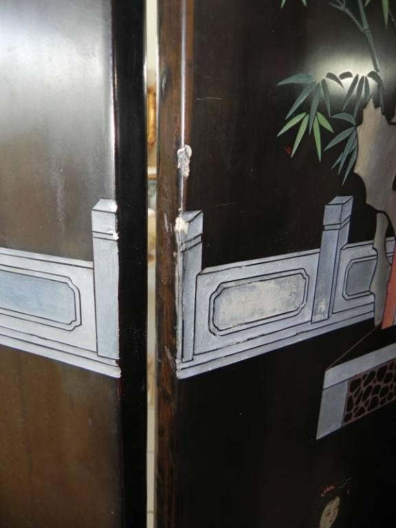 BEAU PARAVENT EN LAQUE DE CHINE A 6 VANTAUX, Paravents, Mobilier | Puces Privées