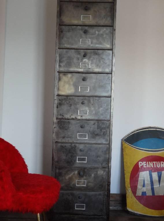 Meuble à clapets en métal brossé, Mobilier industriel, Mobilier | Puces Privées
