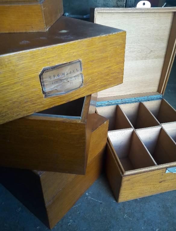 Lot de boites à fiches en bois, Boîtes, étuis, nécessaires, coffrets, Arts décoratifs | Puces Privées