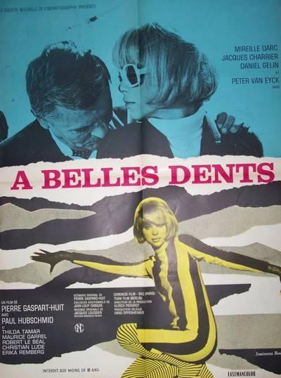 affiche cinéma ancienne,A belles dents,Mireille Darc.120x160 cm, Affiches anciennes (cinéma, theâtre, publicitaire), Image | Puces Privées