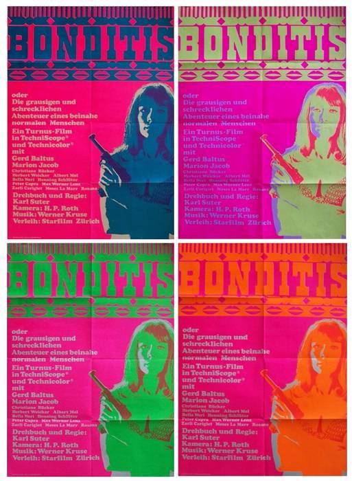 4 affiches Suisse 90x128 cm de Bonditis,James Bond, Affiches anciennes (cinéma, theâtre, publicitaire), Image | Puces Privées