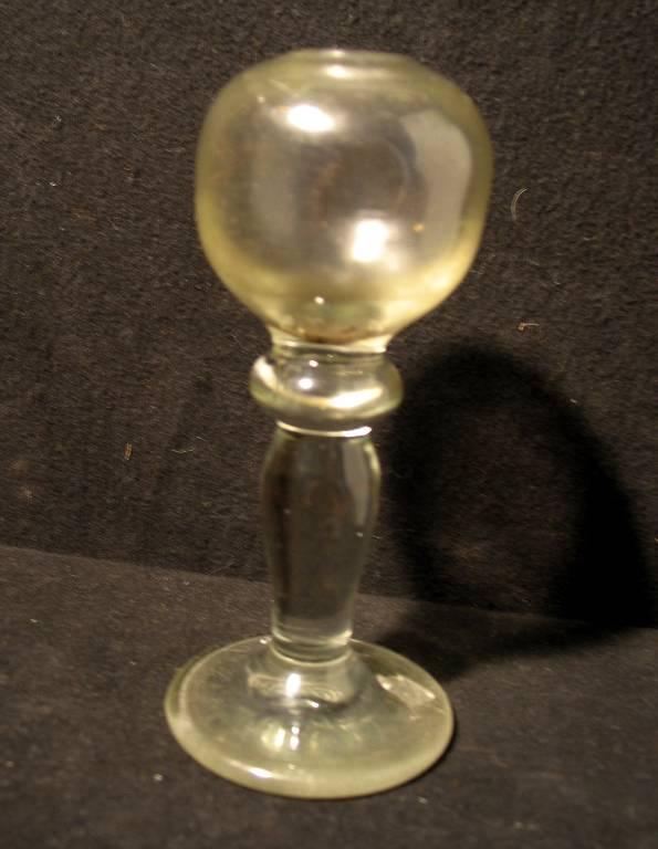 Lampe à huile en verre soufflé de berger XIXème sur pied d'ouche bon état, Art populaire, Collections | Puces Privées