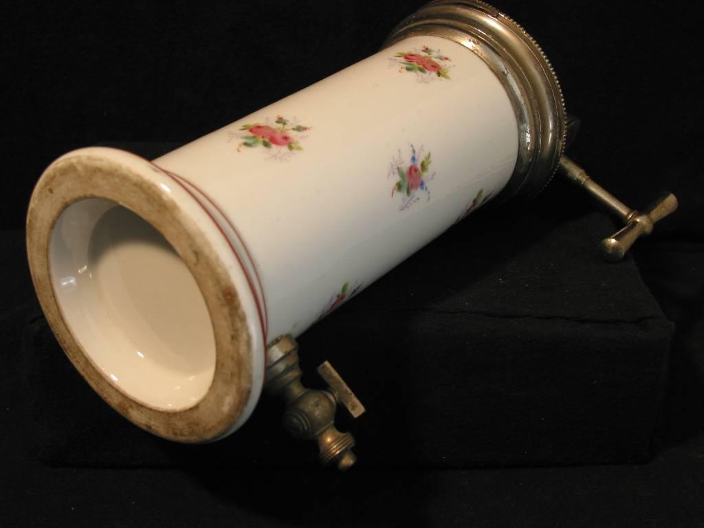Irrigateur type Eguisier , porcelaine avant 1914 , décor de fleurs très bon état, Objets de curiosité, Collections   Puces Privées