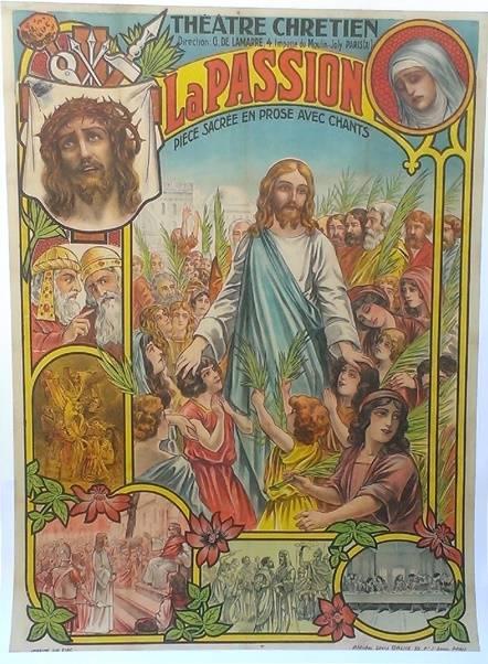 affiche ancienne de 1907,Vie et passion de notre seigneur Jésus.120x160.entoilée, Affiches anciennes (cinéma, theâtre, publicitaire), Image | Puces Privées