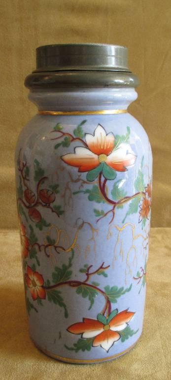 ancien pot à tabac porcelaine et étain décor fleur peint chinoisant fin XIX ème, Objets du fumeur, Collections | Puces Privées
