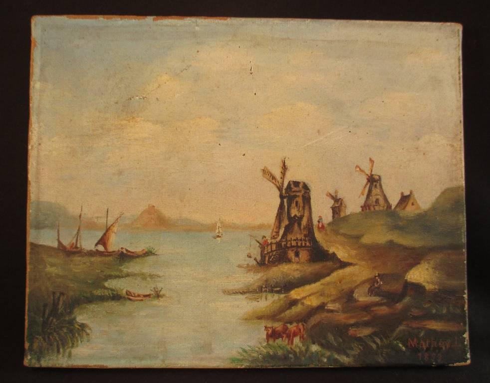 ancien tableau huile sur toile paysage aux moulins, Hollande? Louis Mathey 1893, XIX, Peinture | Puces Privées