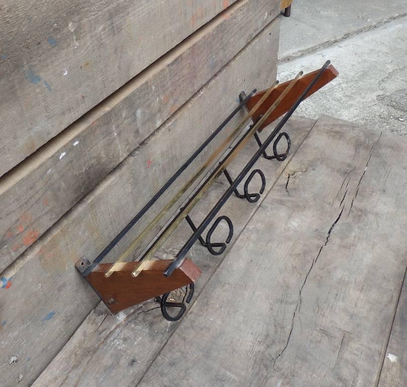 Porte-manteau vintage années 50 bois métal | Puces Privées