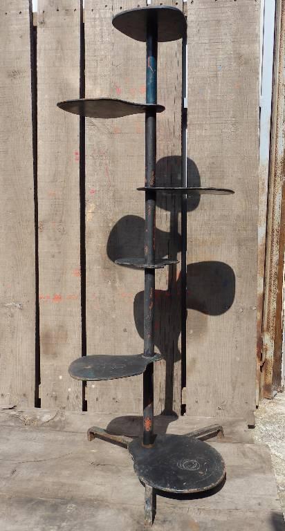 Porte-plantes design ancien en acier noir 6 pots | Puces Privées