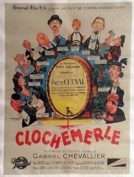 Clochemerle affiche de cinéma originale de 1947.Albert Dubout,Entoilée | Puces Privées