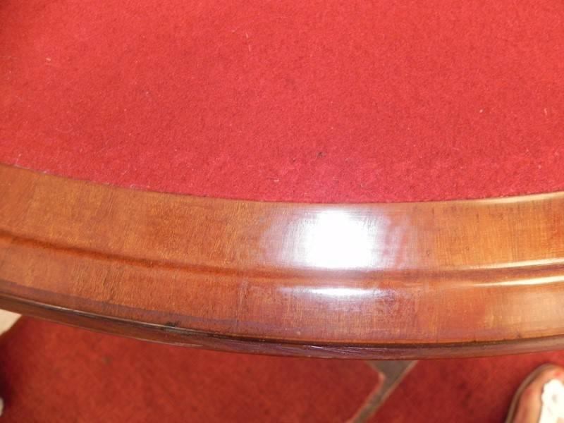 JOLIE TABLE 1/2 LUNE 5 JAMBES EN ACAJOU D'EPOQUE DIRECTOIRE | Puces Privées