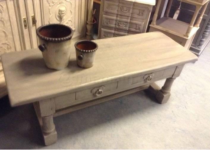 Table de salon patine gris | Puces Privées