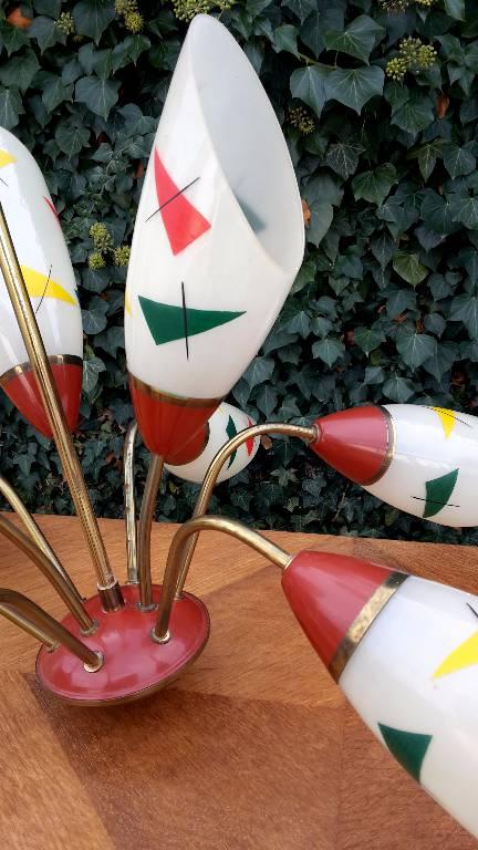 lustre vintage 1950 a 8 bras de lumiere | Puces Privées