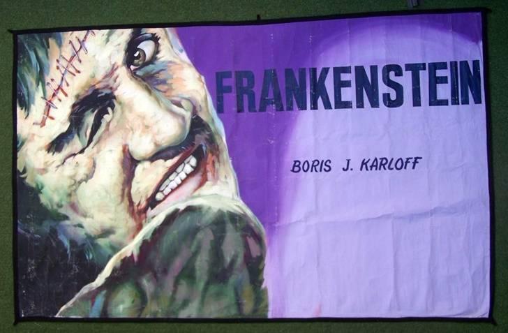 bâche (toile) peinte,originale des années 50.Frankenstein | Puces Privées