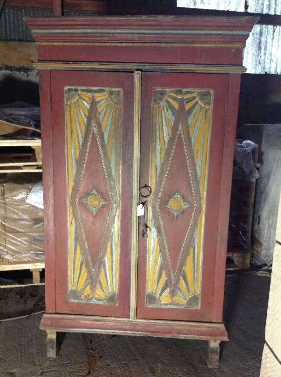 Petite armoire polychrome en bois de teck | Puces Privées