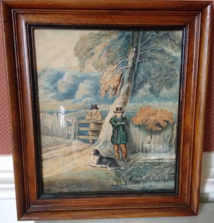 Petite gouache à décor de chasseurs XIXème | Puces Privées
