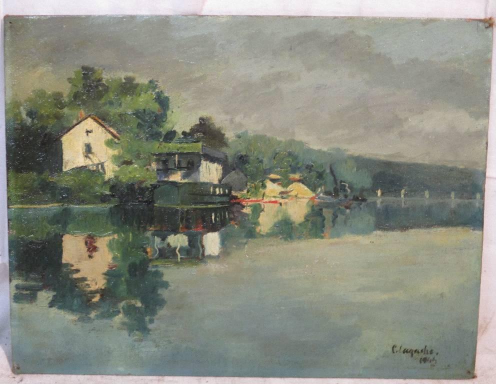 «Bord de Seine» par G. Lagache dit ARAEL | Puces Privées