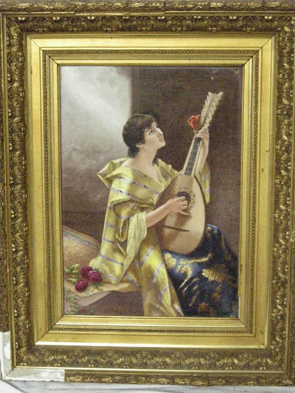 Musicien - peinture sur porcelaine par M. PETROT | Puces Privées